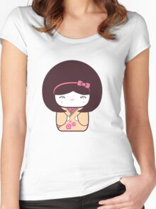 Cute Kokeshi Doll  Women's Fitted Scoop T-Shirt