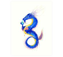 Rainbow Sky Dragon Art Print