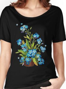 blue flowers in pot Women's Relaxed Fit T-Shirt