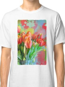 Colourful Painterly tulips on an abstract background. Classic T-Shirt