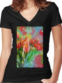 Colourful Painterly tulips on an abstract background. Women's Fitted V-Neck T-Shirt