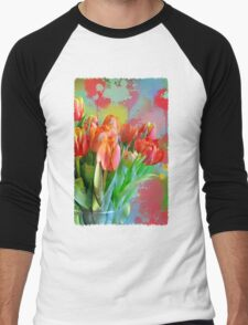 Colourful Painterly tulips on an abstract background. Men's Baseball ¾ T-Shirt