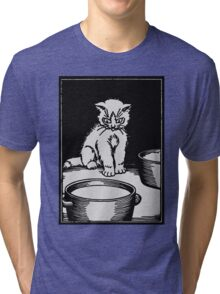 The white kitten and the milk, black and white retro vintage Tri-blend T-Shirt