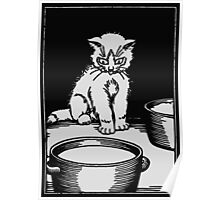 The white kitten and the milk, black and white retro vintage Poster