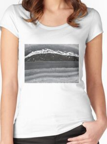 Rocky Winter Nocturne original painting Women's Fitted Scoop T-Shirt