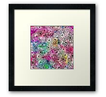 Modern colorful hand drawn flowers watercolor wash Framed Print
