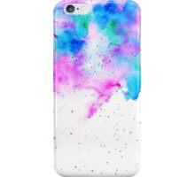 Pink blue modern watercolor brushstrokes splatters iPhone Case/Skin