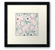Modern pastel floral handdrawn blush pink Framed Print