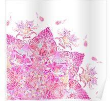 Pink boho bold floral henna mandala pattern Poster