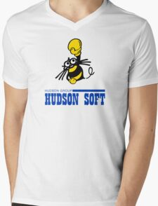 Hudson Soft Boxing Bee Logo Mens V-Neck T-Shirt