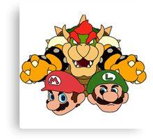 Mario Brothers vs Bowser Illustration Canvas Print