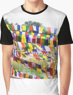 Flags at Bodh Gaya Mahabodhi Temple Graphic T-Shirt