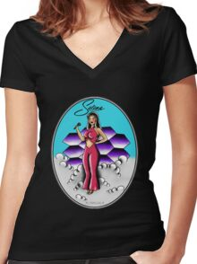 Selenas Pinup girl Women's Fitted V-Neck T-Shirt