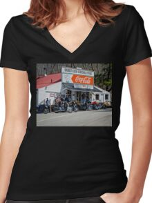 Rabbit Hash Store-Front View Bikers Women's Fitted V-Neck T-Shirt
