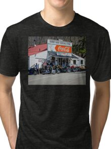 Rabbit Hash Store-Front View Bikers Tri-blend T-Shirt