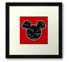 Mickey Filigree - White with black background Framed Print