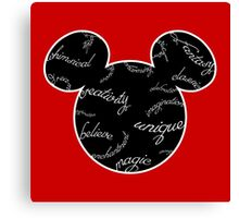 Mickey Filigree - White with black background Canvas Print