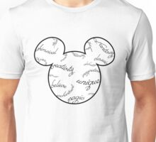 Mickey Filigree - Black with white background Unisex T-Shirt