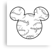 Mickey Filigree - Black with white background Canvas Print