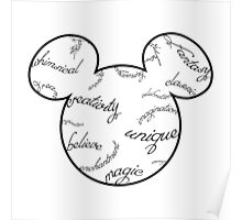 Mickey Filigree - Black with white background Poster