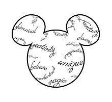 Mickey Filigree - Black with white background Photographic Print