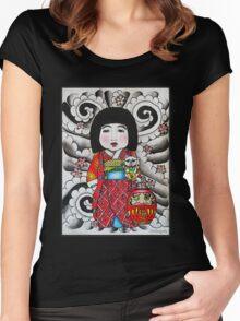 Ichimatsu ningyo, maneki neko and daruma doll  Women's Fitted Scoop T-Shirt