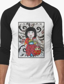 Ichimatsu ningyo, maneki neko and daruma doll  Men's Baseball ¾ T-Shirt