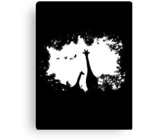 Giraffe Mother and Child Canvas Print