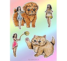 Tiny Pin ups ans Fluffy Pets Photographic Print