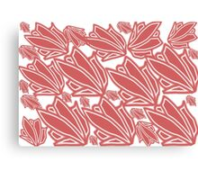 Red tropical floral pattern Canvas Print