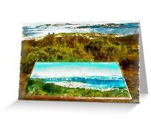 Sardinia: sea landscape and sign map Greeting Card