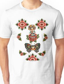 Mexican Dolls Flash, rose doll and butterfly only. Unisex T-Shirt