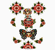 Mexican Dolls Flash, rose doll and butterfly only. Womens Fitted T-Shirt