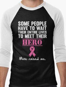 Breast Cancer Hero Men's Baseball ¾ T-Shirt