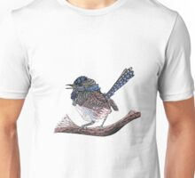Blue Zen Wren Paisley Bird Unisex T-Shirt