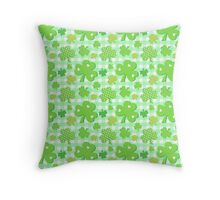 Shamrocks With Green Gingham Pattern Throw Pillow