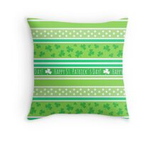 Happy St Patrick's Day Green Stripes Pattern Throw Pillow