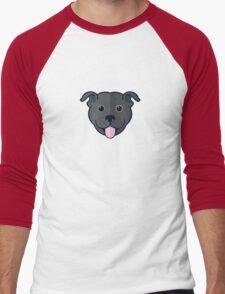 Staffy Smile – Black Men's Baseball ¾ T-Shirt