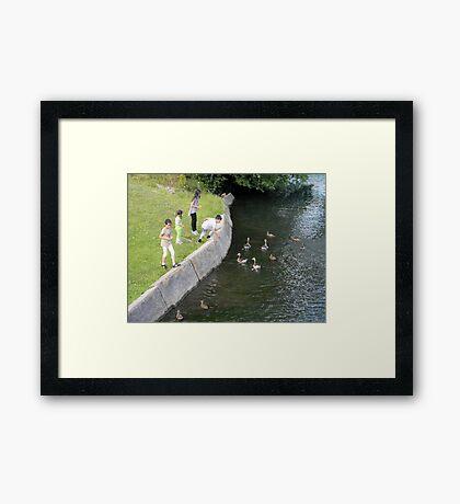 Children Feeding Ducks Framed Print
