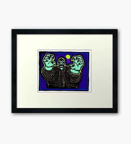 Zombie About to Brain You COLORIZED Framed Print
