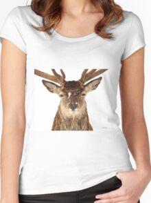 Deer in headlights Women's Fitted Scoop T-Shirt