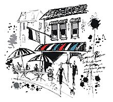 Pen and ink impresion of old French cafe with awning Photographic Print