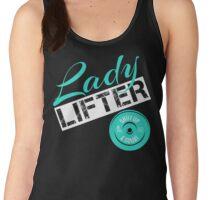 Teal, White & Black Lady Lifter Women's Tank Top