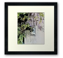 Welcome wisteria  vertical prints Framed Print