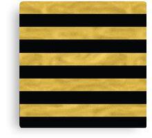 Elegant Black & Gold Stripe Canvas Print