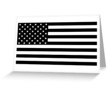 Black and White US Flag Greeting Card