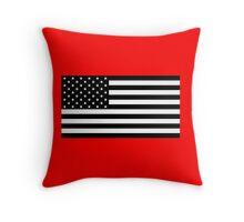 Black and White US Flag Throw Pillow