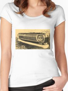 Vintage Old Classic Car Headlight Women's Fitted Scoop T-Shirt