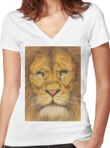 Regal Lion Drawing Women's Fitted V-Neck T-Shirt