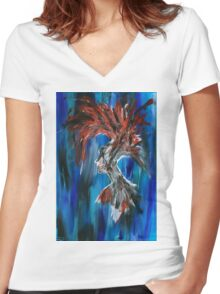 Abstract Silhouette Women's Fitted V-Neck T-Shirt